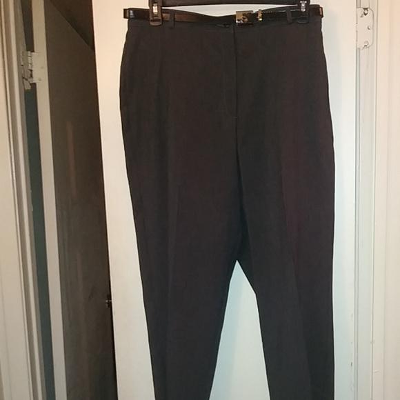 Alia Pants - Alia Heather Charcoal Dress Pants with Belt